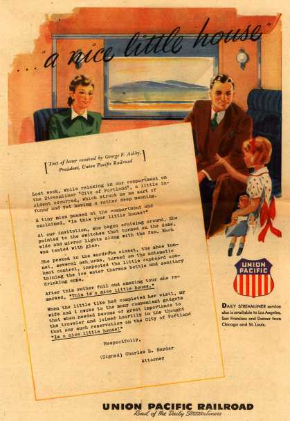 """Union Pacific Railroad's Daily Streamliners – ...""""a nice little house"""" (1948)"""