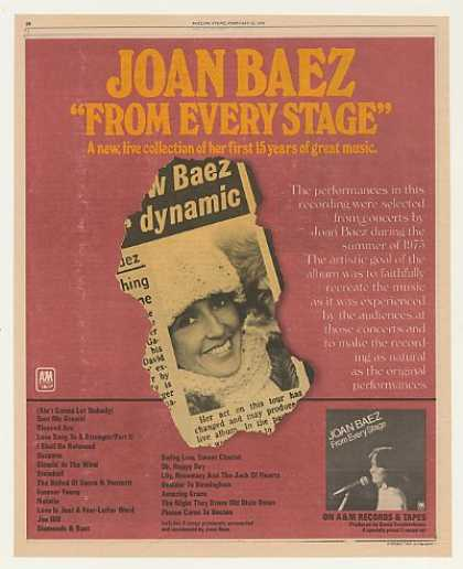 Joan Baez From Every Stage A&M Records (1976)