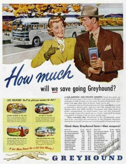 How Much Will We Save Going Greyhound Fares (1949)