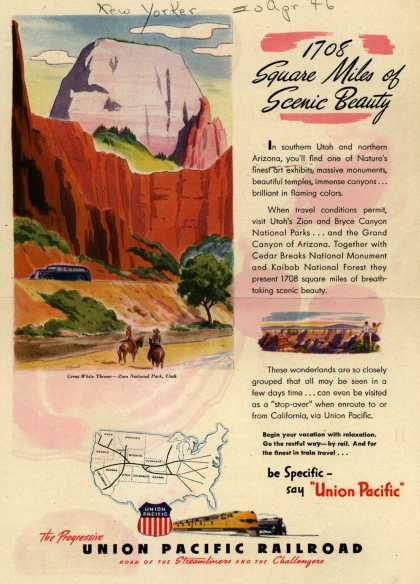 Union Pacific Railroad's Vacation Travel – 1708 Square Miles of Scenic Beauty (1946)