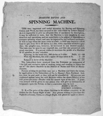 Domestic roving and spinning machine. This very important and useful invention for roving and spinning cotton and wool, has been secured to the subscr