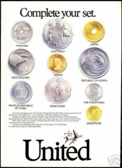 United Airlines Pacific Assorted Coin Photo (1987)