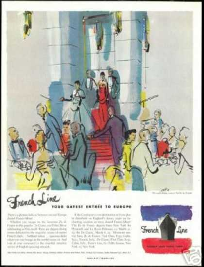 French Line Cruise Ship Dining Room Art (1950)
