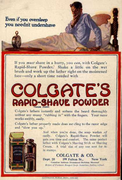 Colgate & Company's Colgate's Rapid-Shave Powder – Even if you oversleep you needn't undershave