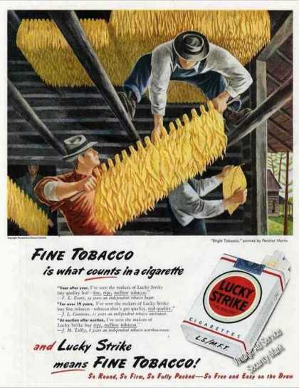 """Lucky Strike """"Bright Tobacco"""" Art Collectible (1947)"""