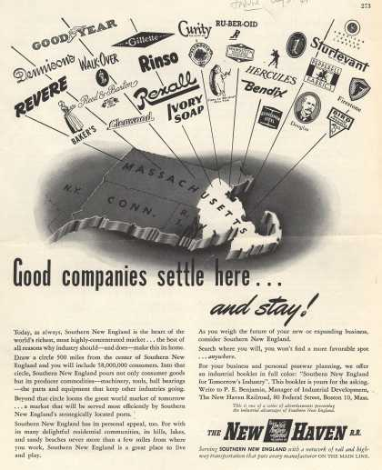 New York New Haven and Hartford Railroad Company's New Haven Railroad – Good companies settle here...and stay (1945)