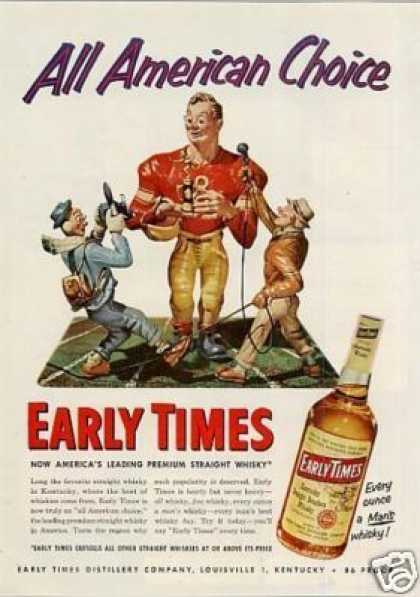 """Early Times Bourbon Whiskey Ad """"All American... (1953)"""