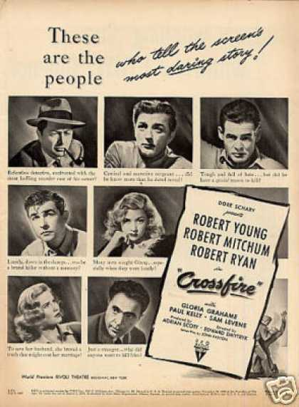 """Movie Ad """"Crossfire"""" Robert Young (1947)"""