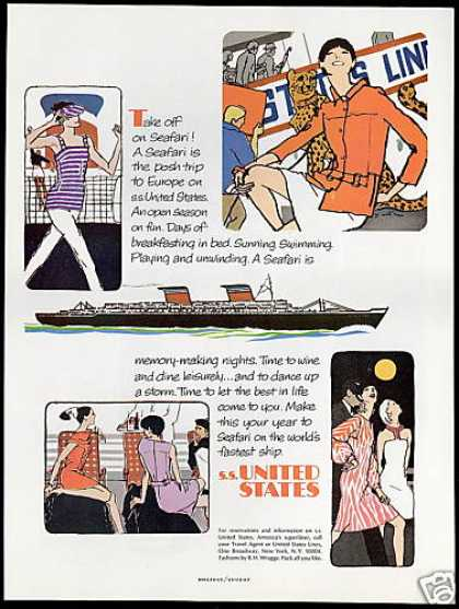 S.S SS United States Lines Cruise Ship Art (1966)