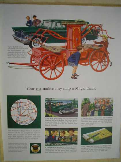 Ethyl Gasoline Gas Your car makes any map a magic circle (1959)