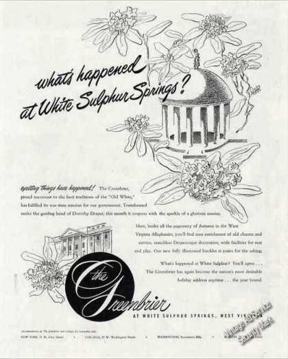 Greenbrier Reopening After Wwii Antique (1947)
