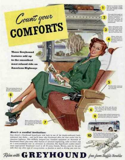 """Greyhound Buses """"Count Your Comforts"""" (1949)"""