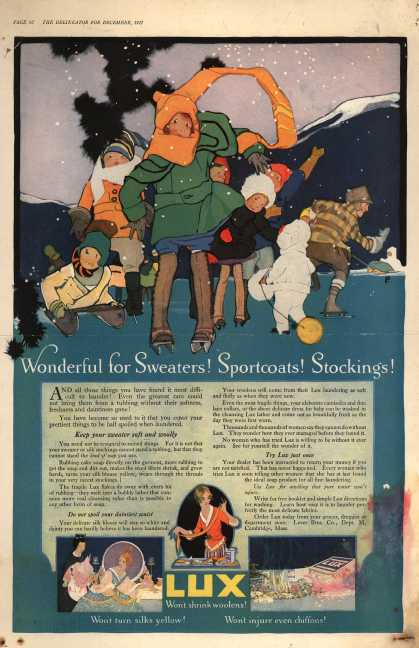 Lever Bros.'s Lux (laundry flakes) – Wonderful for Sweaters! Sportcoats! Stockings (1917)