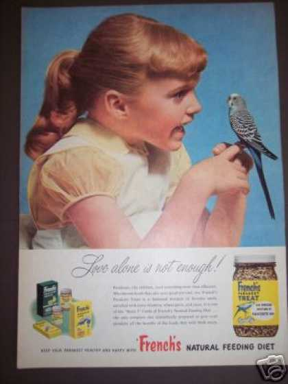's Girl With Pet Parakeet Photo French's Treat (1950)
