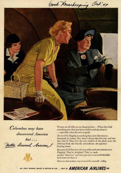 American Airline's American Airline Flagship – Columbus may have discovered America but... Mother discovered American (1949)