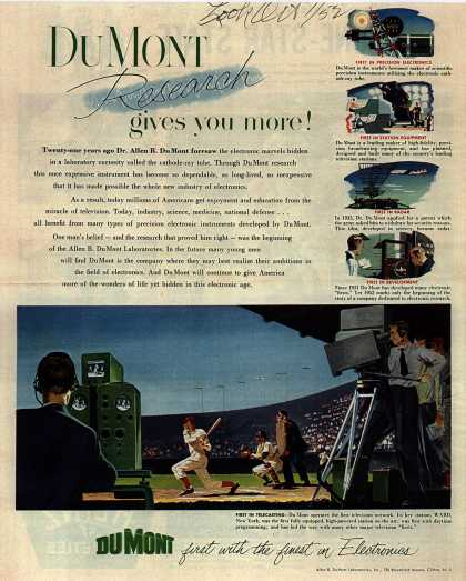 Allen B. DuMont Laboratorie's corporate ad – DuMont Research gives you more (1952)