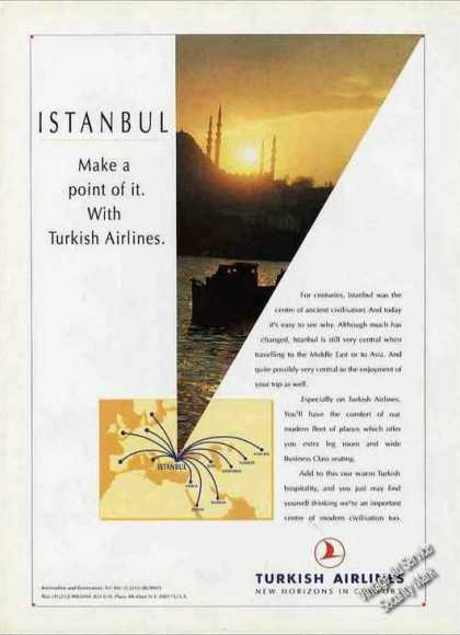 Turkish Airlines Istanbul Travel Ad W/routmap (1993)