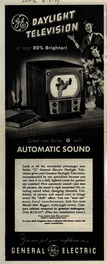 """General Electric Company's Daylight Television – Daylight Television at least 80% Brighter! Great new Series """"G"""" with Automatic Sound (1949)"""