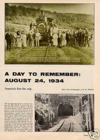 """""""A Day To Remember: August 24, 1934"""" Article/b&m (1962)"""