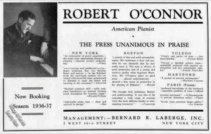 Robert O'connor Photo Pianist Booking (1936)
