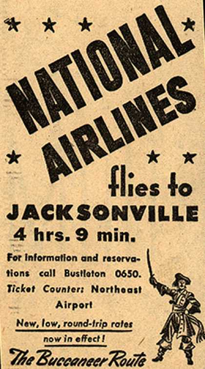 National Airline's Jacksonville – NATIONAL AIRLINES flies to JACKSONVILLE (1945)