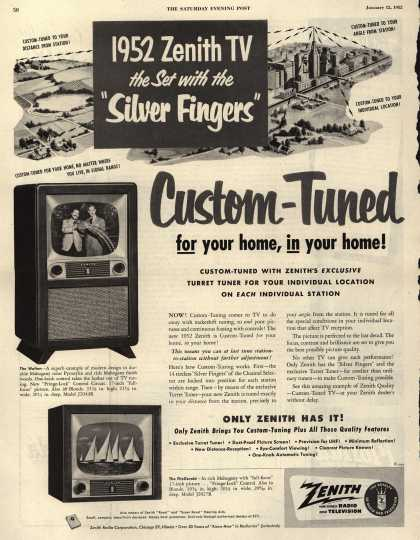 """Zenith Radio and Television's Television – 1952 Zenith TV the Set with the """"Silver Fingers"""" (1952)"""
