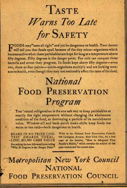 National Food Preservation Council's Radio Program – Taste Warns too late for Safety (1929)
