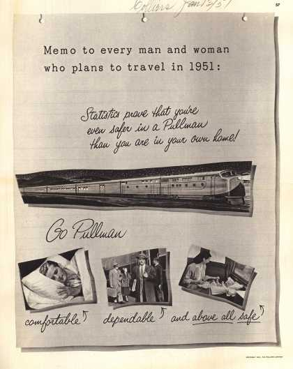 Pullman Company – Memo to every man and woman who plans to travel in 1951: (1951)