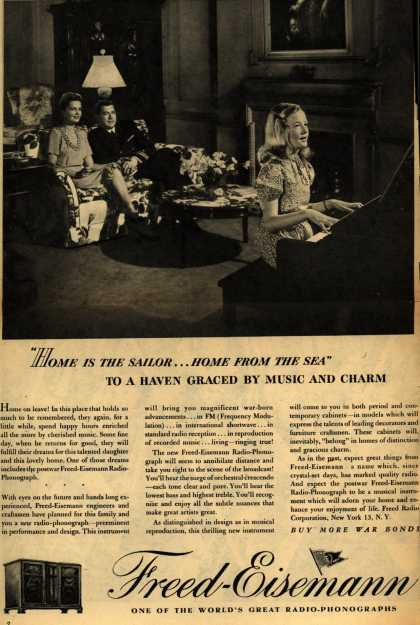 """Freed-Eisemann's Radio – """"Home is the sailor... Home from the Sea"""" To a Haven Graced by Music and Charm (1945)"""