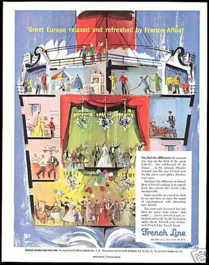 French Line Cruise Ship Pages Art (1958)