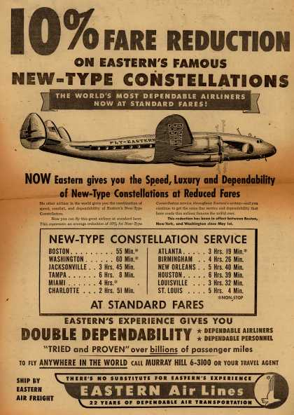 Eastern Air Line's Constellation Service – 10% Fare Reduction on Eastern's Famous New-Type Constellations, The World's Most Dependable Airliners Now at Standard Fares (1950)