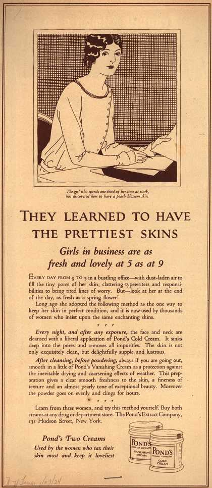 Pond's Extract Co.'s Pond's Cold Cream and Vanishing Cream – They Learned To Have The Prettiest Skins (1924)