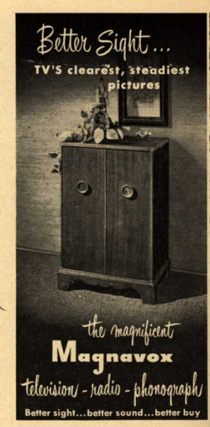 Magnavox Company's Radio Phonograph Television – Better sight... TV's clearest, steadiest pictures (1951)