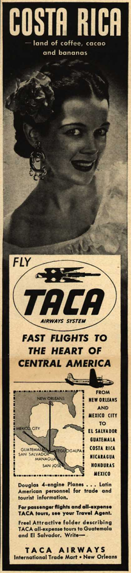 TACA Airways System's Costa Rica – Costa Rica -land of coffee, cacao and bananas (1948)