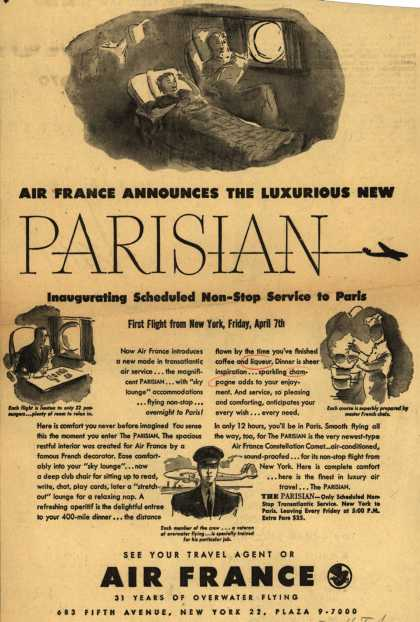 French National Airline's Parisian – Air France Announces The Luxurious New Parisian Inaugurating Scheduled Non-Stop Service to Paris (1950)