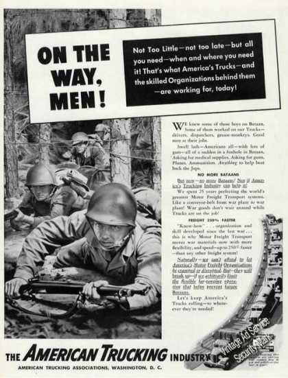 Wwii Soldiers Crawling Art American Trucking (1942)