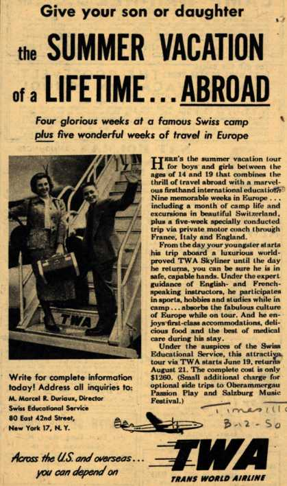 Trans World Airline's Summer vacation tour – Give your son or daughter the Summer Vacation of a Lifetime... Abroad (1950)