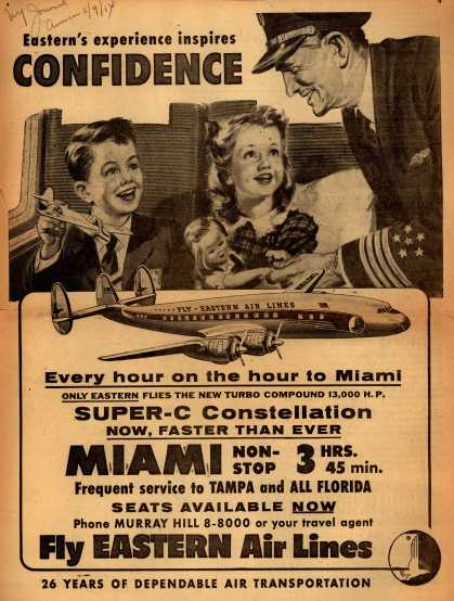 Eastern Air Lines – Eastern's Experience Inspires Confidence (1954)