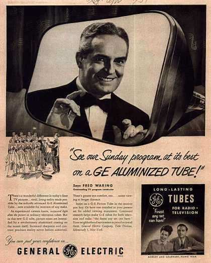 """General Electric Company's GE Aluminized Tube – """"See our Sunday program at its best on a GE Aluminized Tube!"""" (1951)"""