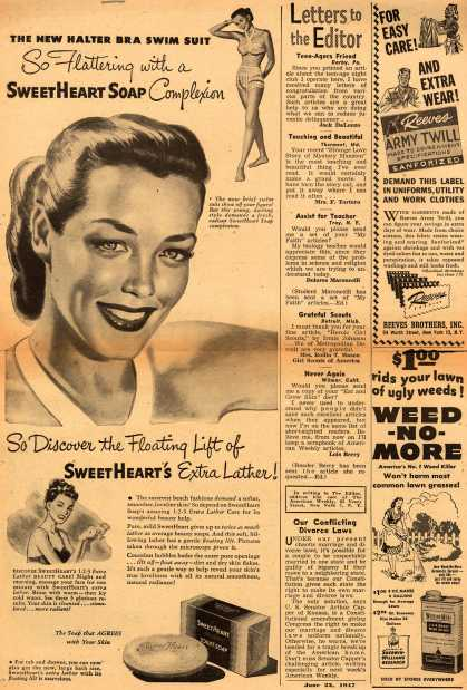 Manhattan Soap Company's SweetHeart Soap – The New Halter Bra Swim Suit So Flattering with a SweetHeart Soap Complexion (1947)