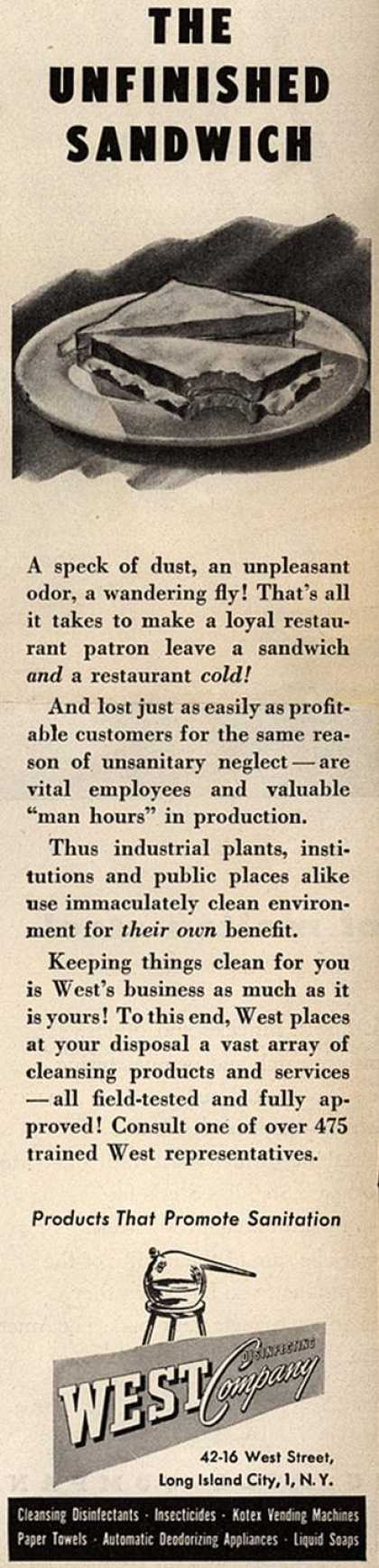 West Disinfecting Company's Cleansing products and services – The Unfinished Sandwich (1947)