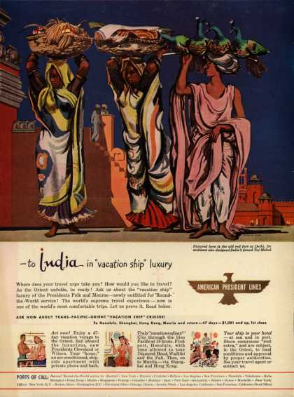 """American President Line's India – To India in """"vacation ship"""" luxury (1947)"""