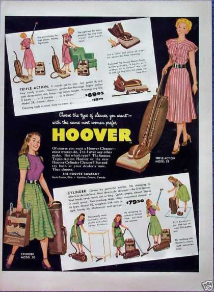 Hoover Vacuum Cleaner Triple Action Cylinder (1948)