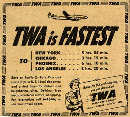 Trans World Airline's various destinations – TWA is Fastest (1950)