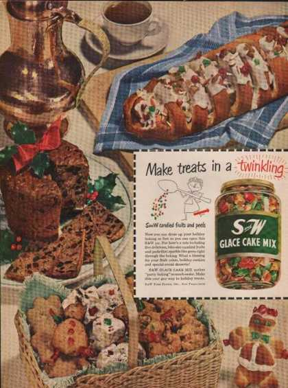 S and W Glace Cake Mix for Baking (1951)