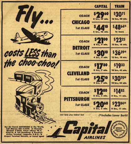 Capital Airline's Air/Rail cost comparison – Fly... costs Less than the choo-choo (1950)