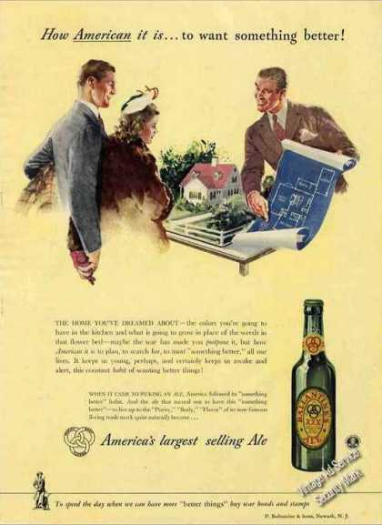 """Ballantine Ale """"How American It Is"""" New House (1943)"""