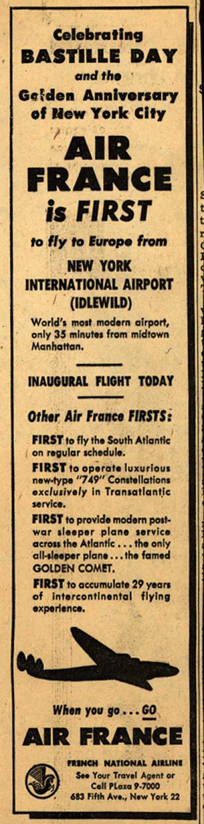 French National Airline's Europe from New York International Airport – Celebrating Bastille Day and the Golden Anniversary of New York City: Air France is First (1948)