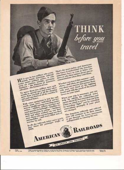 Think Before You Travel American Railroad (1943)