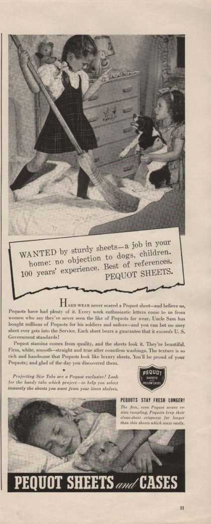 Pequot Sheets & Pillow Cases for Bed Print (1941)